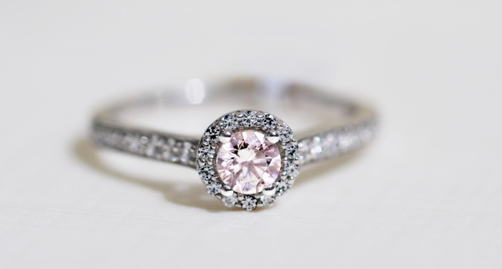 Pink Morganite Halo Engagement ring with diamond shoulders 9ct White Gold  £889