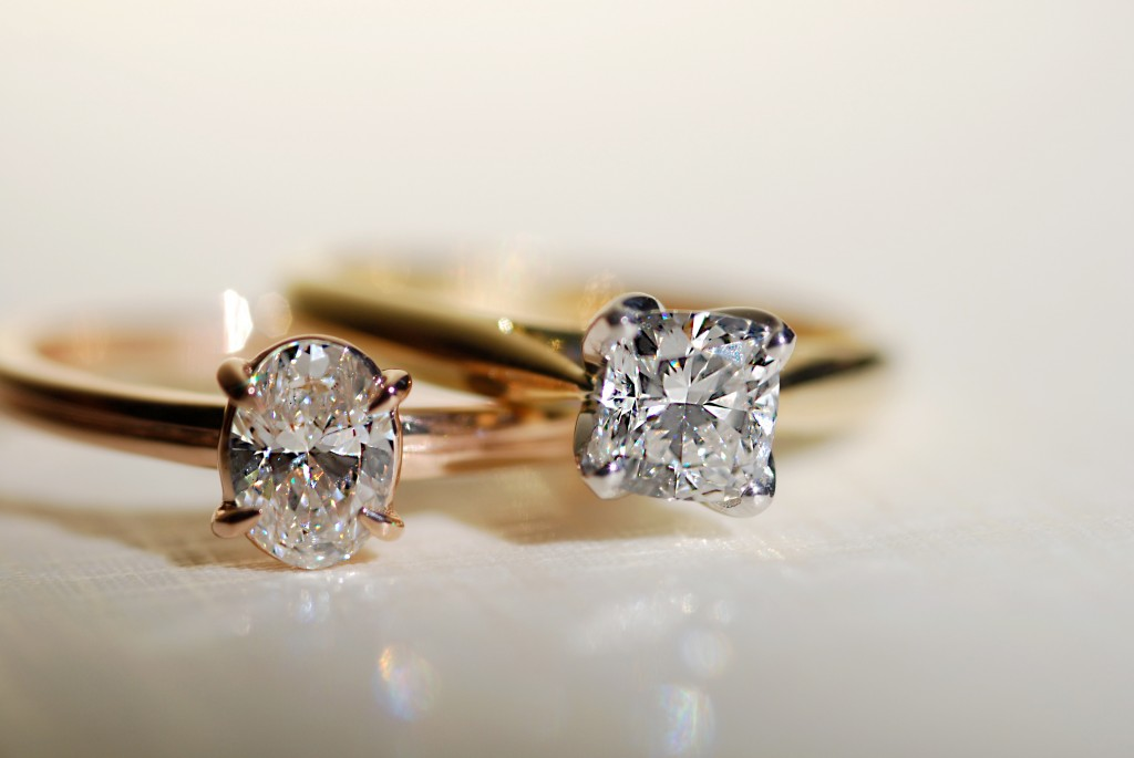Oval cut solitaire engagement ring  Cushion cut solitaire engagement ring