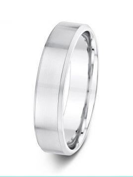 5mm flat court with soft bevelled edges wedding ring