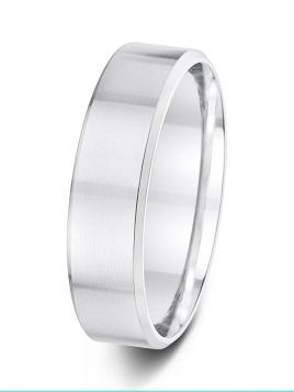 6mm flat court with soft bevelled edges wedding ring