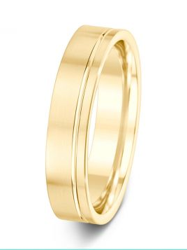 5mm brushed finish with off centre groove patterned wedding ring