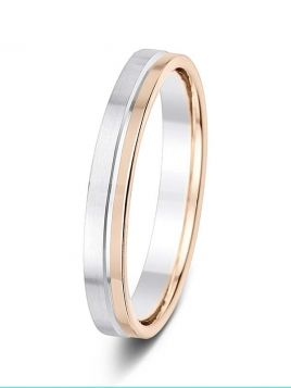 3.5mm two colour off-centre groove pattern wedding ring