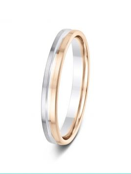 3mm two tone split central groove wedding ring