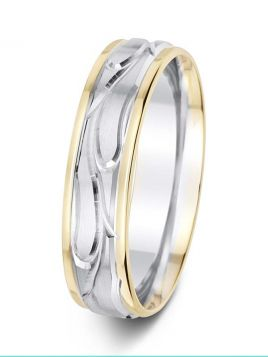 6mm vine design polished and matt two tone wedding ring