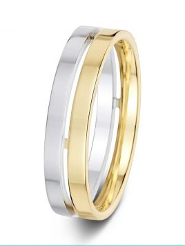 5.5mm pierced centre groove polished two tone wedding ring