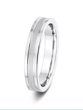 4mm sand finish centre with polished edges flat court wedding ring