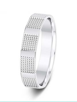 4.5mm full patterned with raised polished bars wedding ring