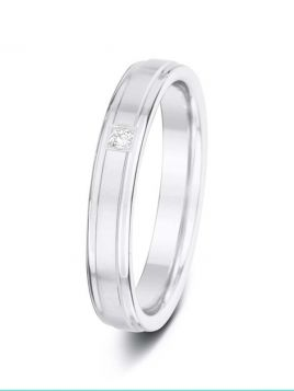 3.5mm 0.03ct matt finish with polished double grooves diamond wedding ring