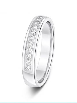4mm 0.20ct 1/2 set diamond wedding ring