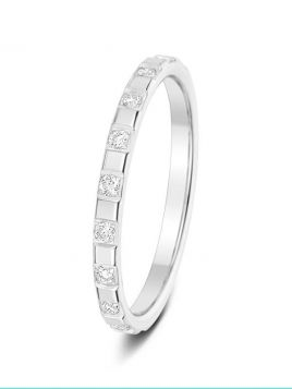 2mm 0.34ct mirror finished bar-set diamond wedding ring