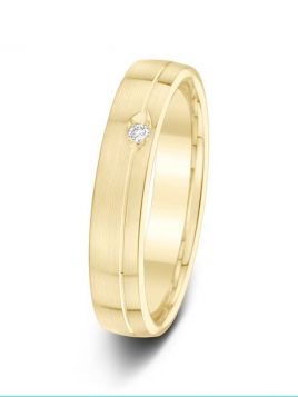 4mm 0.03ct matt finish grooved set diamond wedding ring