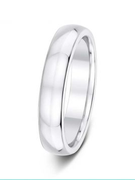Gents 4mm D-shape comfort fit plain band ring (Light)