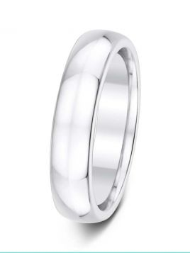 Gents 5mm D-shape comfort fit plain band ring (Light)