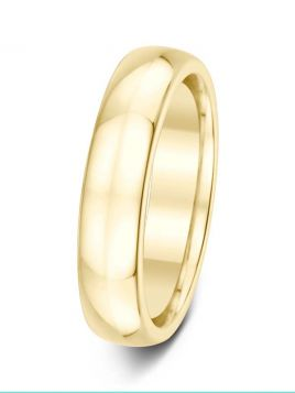 Gents 5mm D-shape comfort fit plain band ring (Medium)