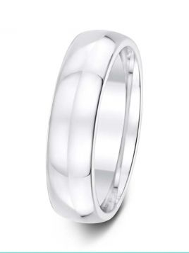 Gents 6mm D-shape comfort fit plain band ring (Light)