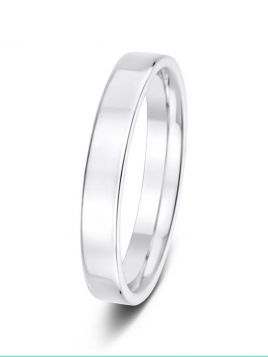 Ladies 3mm flat comfort fit plain band ring (Heavy)