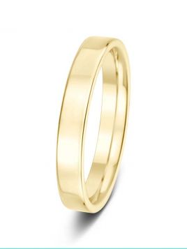 Ladies 3mm flat comfort fit plain band ring (Light)