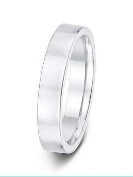 Ladies 4mm flat comfort fit plain band ring (Medium)