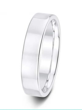 Ladies 5mm flat comfort fit plain band ring (Light)