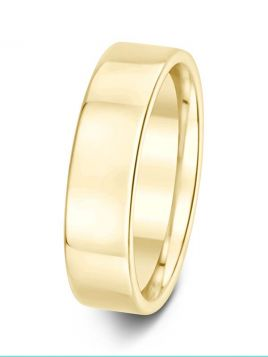 Gents 6mm flat comfort fit plain band ring (Light)