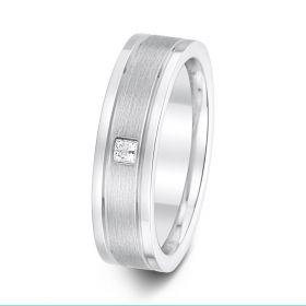 6mm 0.08ct polish & matt finish with parallel grooves diamond set wedding ring