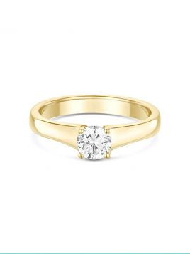 Classic solitaire engagement ring with 4 claw setting and tapered band (with G/VS2 diamond)