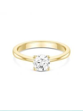 Classic solitaire engagement ring with 4 claw setting and fine band (with G/VS2 diamond)