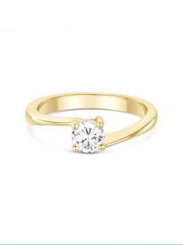 Classic solitaire engagement ring with twist detail and 4 claw setting(with G/VS2 diamond)