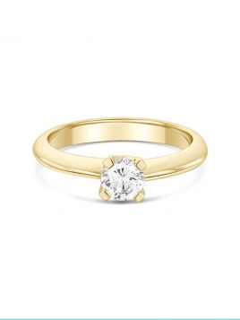 Classic solitaire engagement ring with 4 claw setting and knife edge band  (with G/VS2 diamond)