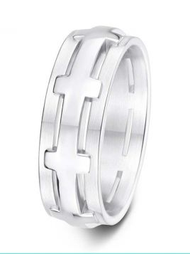 7.5mm Swiss made cross design wedding ring