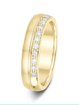 4.5mm Swiss made brushed/polished diamond wedding ring with a centre groove