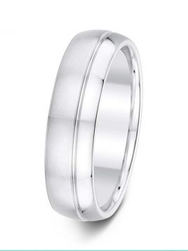 6mm Swiss made brushed/polished wedding ring with an off-centre groove