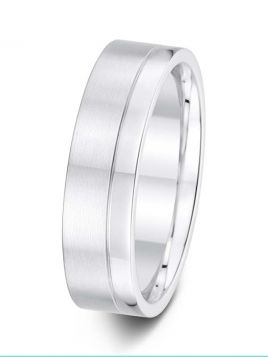 6mm Swiss made brushed / polished wedding ring with an off-centre groove