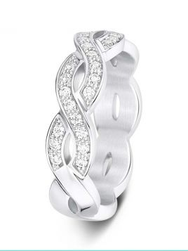 5mm Swiss made twisted diamond wedding ring