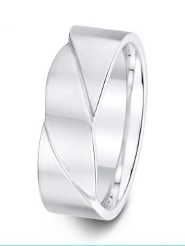 7.5mm Swiss made diagonal grooves wedding ring