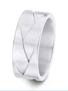 8mm Swiss made crossing layers design wedding ring