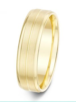6mm two stepped brushed finish with polished groove and edges patterned wedding ring