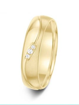 5mm 0.02ct wave patterned mirror and brushed finish diamond wedding ring