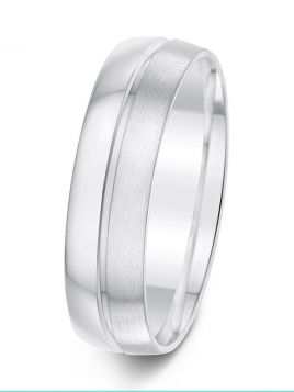 6mm brushed and mirror finish divided by polished groove patterned wedding ring