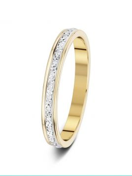 2.5mm two-tone sparkle cut wedding ring