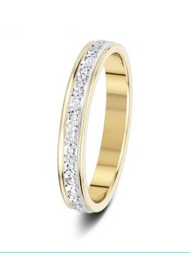 3mm two-tone sparkle cut wedding ring