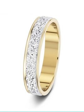 4mm two-tone 2 row sparkle cut wedding ring