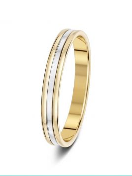 3mm two colour two grooves with mirror finish patterned wedding ring
