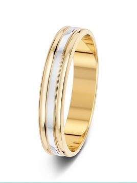 4.5mm polished 3 row two tone wedding ring