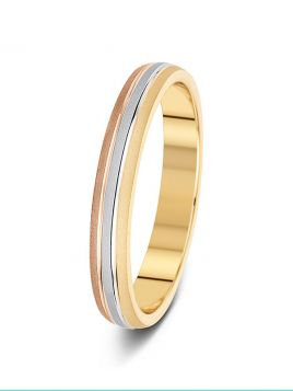 3mm three colour sand finish with two polished grooves patterned wedding ring