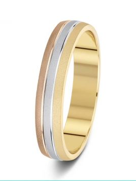 4.5mm three colour two grooves patterned wedding ring