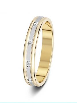 3.5mm two-tone matt star design sparkle cut wedding ring