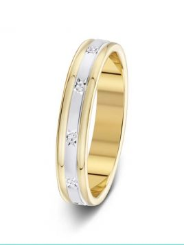 3.5mm two-tone star design sparkle cut wedding ring