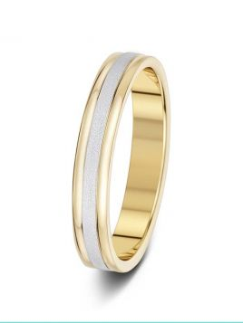 3.5mm two-tone sand effect centre with polished edges wedding ring