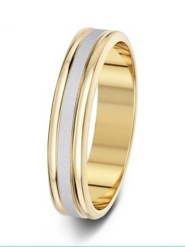 5mm brushed centre with polished edges two tone wedding ring